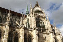 Architecture of the Cathedral of Regensburg Royalty Free Stock Photos