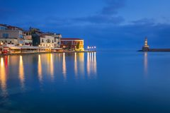 Architecture of Chania at night with Old Venetian port on Crete. Greece Stock Image