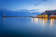 Architecture of Chania at night with Old Venetian port on Crete. Greece Stock Photos