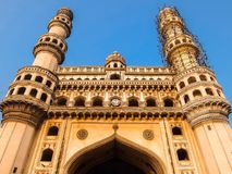 Architecture of Charminar in Hyderabad, Telangana, Indi. Architecture of Charminar `Four Minarets`, constructed in 1591, is a monument and mosque located in royalty free stock photography