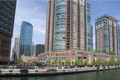Architecture on Chicago River Royalty Free Stock Photo