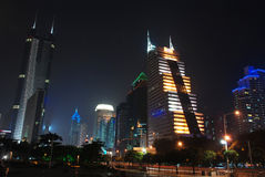 And architecture chinese city delta gold green gua. China, Guangdong Shenzhen, south depth main road king building night scene Stock Photo