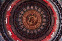 Architecture chinoise antique/bâtiment Plafond, caisson de Qianqiu teintent, jardin impérial, le Cité interdite photographie stock libre de droits
