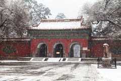 Architecture chinoise antique en hiver Images stock