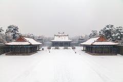 Architecture chinoise antique en hiver Photographie stock libre de droits