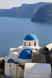 Architecture church in Santorini. Architecturel dome church in Santorini in blue and white in Santorini on a sunny sommer holiday Stock Image
