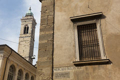 Architecture in the city of Bergamo Stock Images