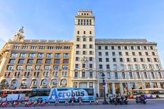 Architecture of the City center - Plaza Catalonia Placa de Catalunya on November 11, 2016 Barcelona, SPAIN Stock Photography
