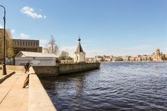 Chapel of St. Nicholas. Architecture of city embankments of rivers and canals Royalty Free Stock Images