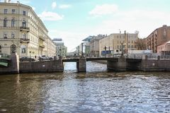 Merger of the Moika and Kryukov Canal. Architecture of city embankments of rivers and canals Royalty Free Stock Photos