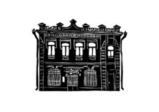 Architecture of the city of Krasnoyarsk. Black and white graphics, suitable for printed products. Krasnoyarsk city 8. Architecture of the city of Krasnoyarsk royalty free illustration