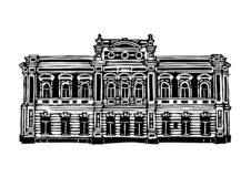 Architecture of the city of Krasnoyarsk. Black and white graphics, suitable for printed products. Krasnoyarsk city 9. Architecture of the city of Krasnoyarsk royalty free illustration