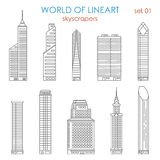 Architecture city skyscraper graphical lineart vector set. Architecture city skyscraper graphical lineart hipster style set. World of line art collection Royalty Free Stock Images
