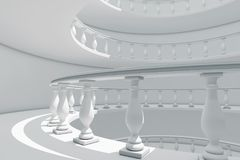 Architecture in Classical Style Spiral Balustrade Way between Fl. Oors extreme closeup. 3d Rendering vector illustration