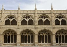 Architecture close up of the inner facade of Jeronimos Monastery Royalty Free Stock Photo