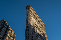 Architecture closeup of Flatiron Building in the afternoon in New York City royalty free stock image