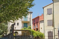 Architecture of Collioure in France. General architecture of Collioure, an old Mediterranean city in France Stock Image