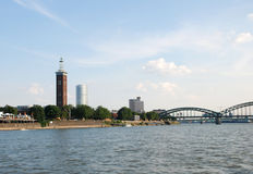 Architecture of Cologne seen from the Rhine river Stock Photography