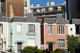 Architecture of colored  house  in Paris 13th district Stock Photos