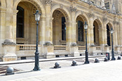 Architecture with columns and light post, Paris, France Royalty Free Stock Images