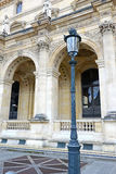 Architecture with columns and light post, Paris, France Stock Photos