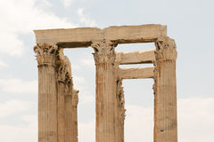 Architecture of the columns of the temple of Zeus in Greece. Stock Images