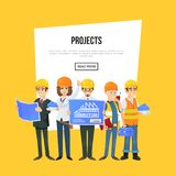 Architecture company banner with worker team. In safety helmets. Engineer with blueprint, architect, builder and foreman characters. Professional engineering Royalty Free Stock Image