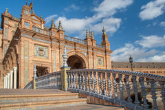 Architecture complex Plaza de Espana in Seville. Architectural details of the buildings and brdges of Plaza de Espana in Seville Royalty Free Stock Images