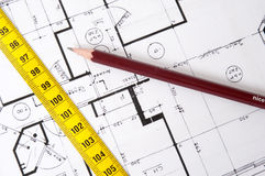 Architecture composition with house plans. An architecture composition with house plans royalty free stock photo