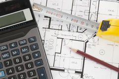 Architecture composition with house plans. An architecture composition with house plans stock image