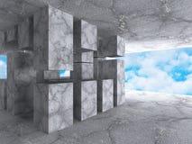 Architecture concrète abstraite sur le fond de ciel Photographie stock