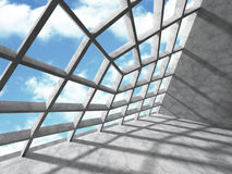 Architecture Concrete Geometric Abstract Background. 3d Render Illustration royalty free illustration