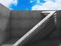 Architecture Concrete Geometric Abstract Background. 3d Render Illustration Royalty Free Stock Photo