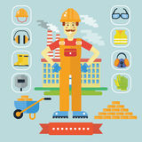 Architecture and Construction color flat concept with icons. Architect constructor cartoon builder man with icons tools Stock Photo