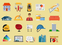 Architecture and Construction flat icons set Stock Photos
