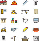 Architecture and construction icons. Colorful set of icons relating to architecture and construction on white Stock Photography
