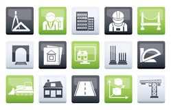 Architecture and construction icons over color background. Vector icon set stock illustration