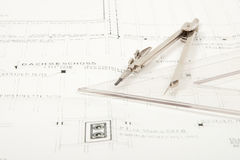 Architecture construction plan. Architecture plan with a compass and ruler Stock Photo