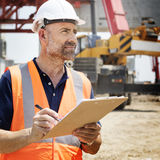 Architecture Construction Safety First Career Concept. Architecture construction safety first career working on site on day time Stock Image