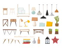 Architecture contemporaine plate de meubles de concept de décor de maison d'appartement de conception intérieure de pièce de vect Photographie stock libre de droits