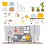 Architecture contemporaine plate de meubles de concept de décor de maison d'appartement de conception intérieure de pièce de vect Photo libre de droits