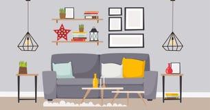 Architecture contemporaine plate de meubles de concept de décor de maison d'appartement de conception intérieure de pièce de vect Image libre de droits