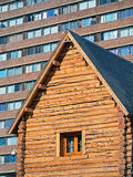 Architecture contrast. Contrast architectural concrete and wood - Bariloche - Patagonia - Argentina Royalty Free Stock Photo