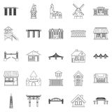 Architecture of the country icons set, outline style Royalty Free Stock Images