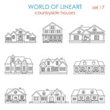 Architecture countryside house townhouse graphical lineart. Architecture countryside house townhouse graphical line art style icon set. World of lineart stock illustration