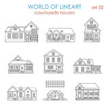 Architecture countryside house townhouse lineart vector. Architecture countryside house townhouse graphical lineart hipster set. World of line art collection Stock Image