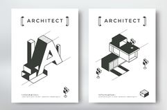 Architecture cover design. A4 format template. Poster with isometric building and geometry elements Royalty Free Stock Photography