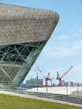 Architecture and cranes. Guangzhou opera house and  cranes Royalty Free Stock Photo