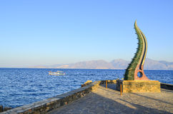 Architecture in crete. With blue sky and mountain background Stock Photos