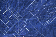 Architecture crumpled blueprint floor plan Stock Photos